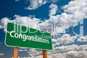 Congratulations Green Road Sign with Sky