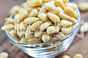 Pine nuts in glass bowl