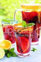 Fruit punch in pitcher and glasses