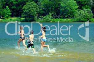 Children in a lake