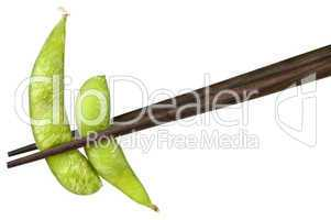 Soy beans with chopsticks