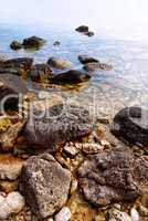 Rocks in clear water