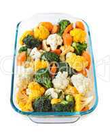 Raw vegetables in baking dish