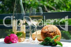 White wine with glasses outside