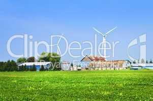 Wind turbines on farm