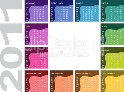 Farbiger Jahreskalender 2011 - deutsch (Woche beginnt mit Montag)