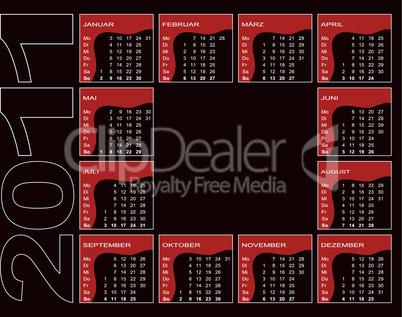 Jahreskalender 2011 auf schwarzem Grund - deutsch (Woche beginnt mit Montag)