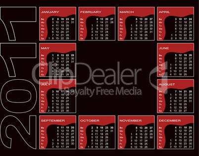 Calendar 2011 - red, black, white (English, Sunday first)