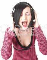 emo girl in head phones