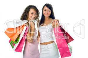 shopping peauty girlfriend with colored package
