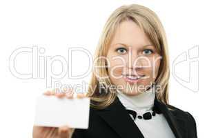young business woman hold wisiting card