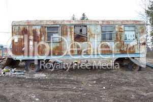 old grunge trailer with windows