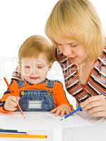 baby and mother draw color pencil