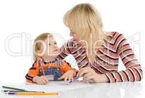pretty baby and mother draw color penci