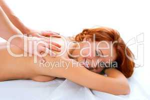 man hand massage beauty redheaded girl
