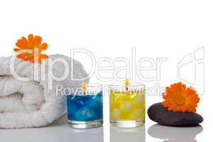 spa candle  flower towel
