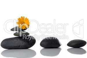 spa stones with yellow flower