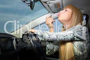 makeup in car