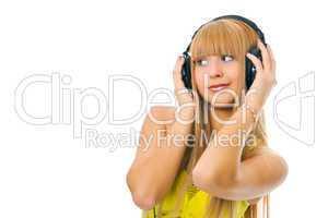 woman in head phones