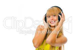 young woman in head phones