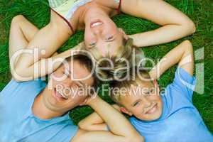happy family on grass