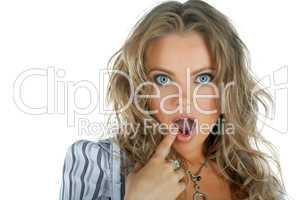 beauty woman wonder face with open mouth