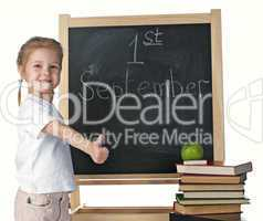 little girl and blackboard