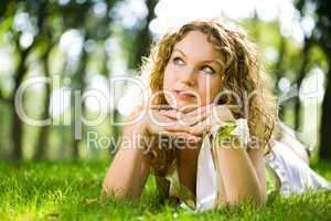 beauty woman outdoor lie