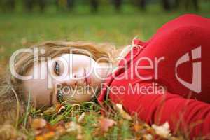 young beauty woman lie
