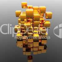 Goldener Kubus aus Blöcken