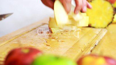 Close up of slicing melon