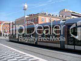 France. French Riviera. Nice. Up-to-date tram on Place Massena