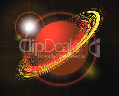 Saturn vector planet illustration on black background
