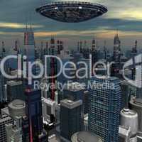 UFO über Wolkenkratzern