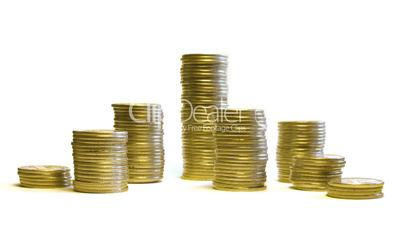 growing and reducing stacks of coins isolated on white