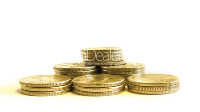 growing pyramid of coins isolated on white, moving camera and static variants