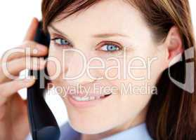 Caucasian  businesswoman on the phone
