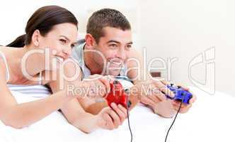 United couple playing video games