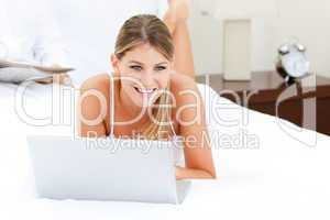 Caucasian woman surfing on the internet