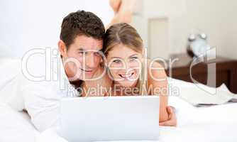 Positive couple surfing on the internet