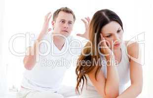 Caucasian couple argumenting