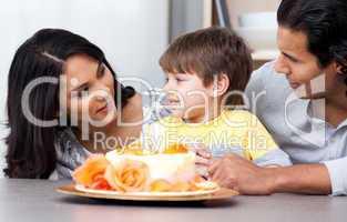 Joyful family celebrating a birthday together