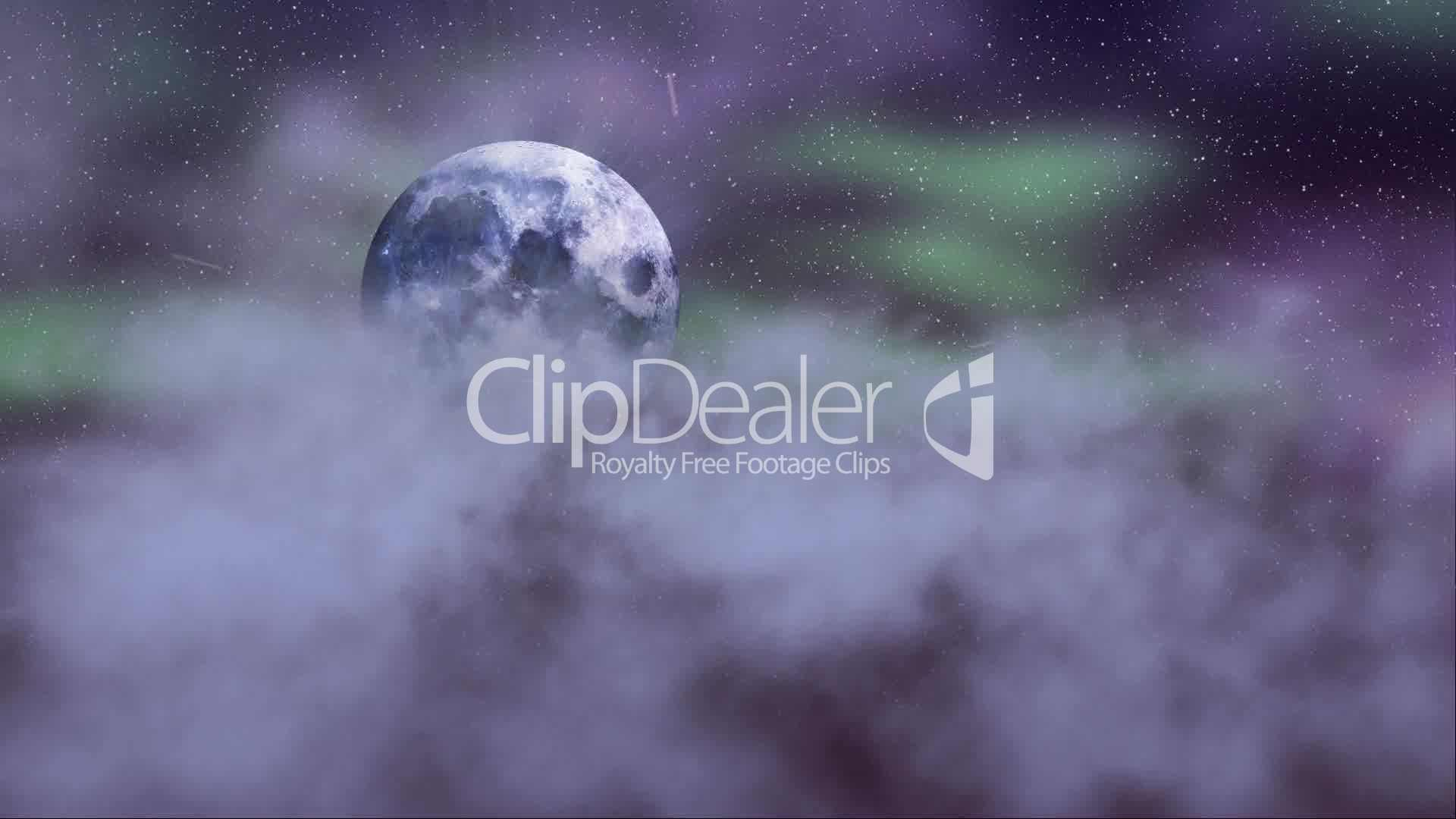 loopable flying through clouds on night sky with full moon: Royalty