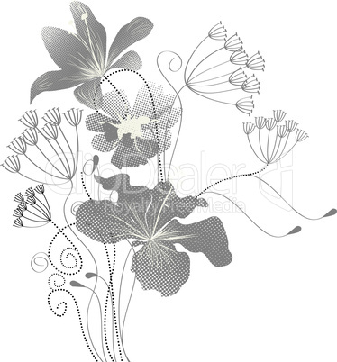 Background with decorative flowers