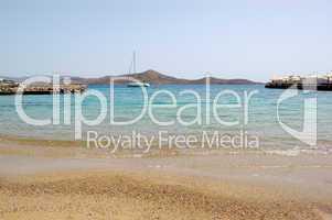 Beach of luxury hotel with yacht view, Crete, Greece