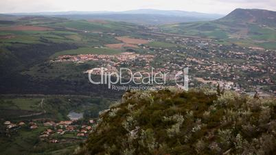 panorama on valley with village