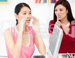 Businesswoman asking for silence while her colleague shouting