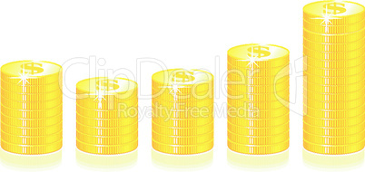 Gold Coins Graph on white background illustration