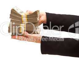 Woman Handing Over Hundreds of Dollars