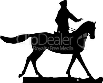 silhouette of military man , horseman on white background, vector